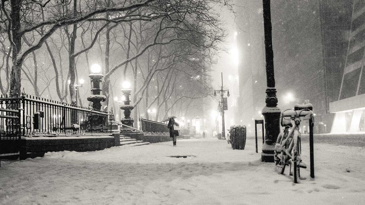 black and white, winter, snow, New York City